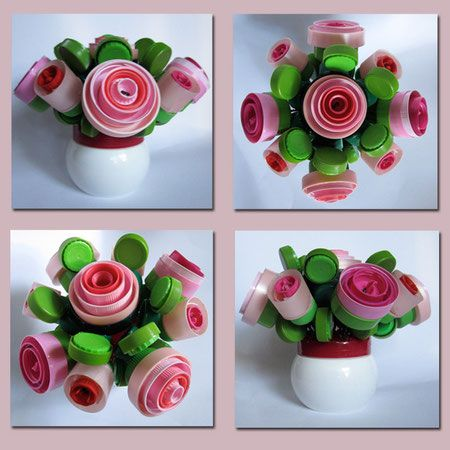 Recyclage artistique mati re plastique bouchons - Bricolage avec bouchon plastique ...