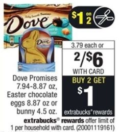 $1 off any Two Easter M&M's, 3 Musketeers, Twix, Milky Way, Snickers or Dove Brands ($2 Dove at CVS through 03-18)