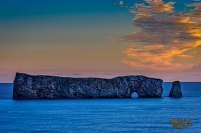 """Percé Rock - Got up at 4:00 a.m. to get set up for this shot. The Sunrise was just breathtaking. Percé Rock - (French Rocher Percé, """"pierced rock"""") is a huge sheer rock formation in the Gulf of Saint Lawrence on the tip of the Gaspé Peninsula in Quebec, Canada."""