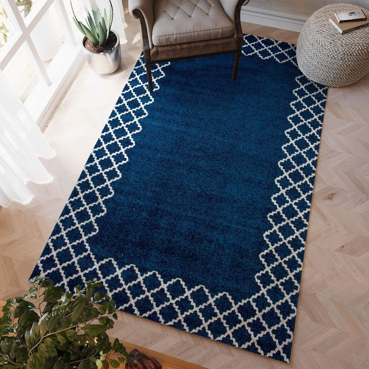 Transitional Rug Blue & White High Quality Carpet Polypropylene  #floors #carpet #myhomeisbetterthanyours #decorating #rugs #floorcoverings #homedecor #homeaccents #instahome #homedesign