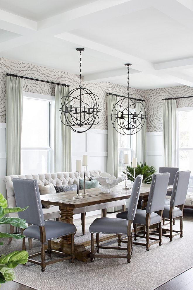 Dining Room With Two Orb Chandeliers Over Dining Table Dining Room With Two Orb Chandeli Dining Room Makeover Cottage Dining Rooms Dining Room Furniture Design
