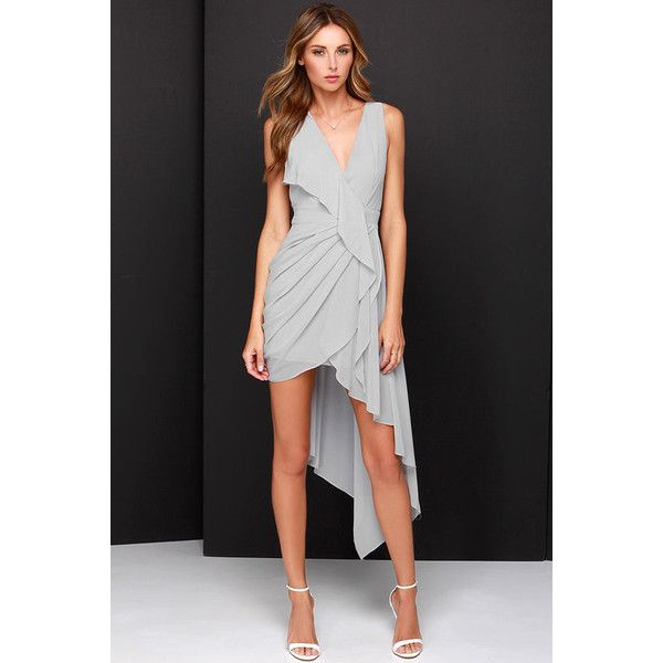 LuLu*s Elegant Gathering Grey High-Low Dress featuring polyvore, fashion, clothing, dresses, grey, going out dresses, ruched dress, chiffon dress, grey chiffon dress and gray dress