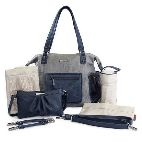 "timi & leslie ""Abby"" Grey Navy Designer Baby Bag 7 Piece Set"