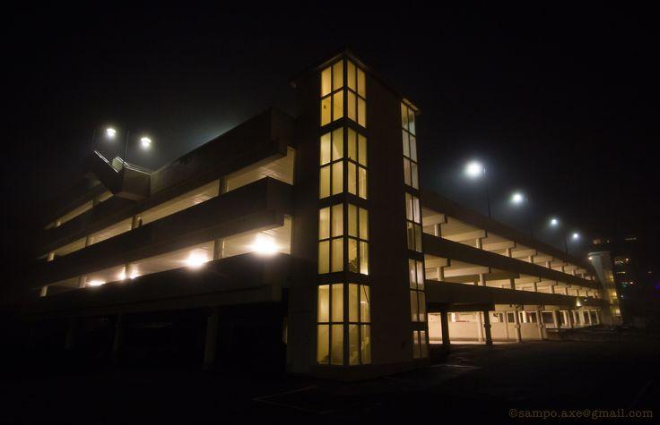 Foggy night: Parking garage, LM Ericsson´s former headquarters, Telefonplan, Stockholm.