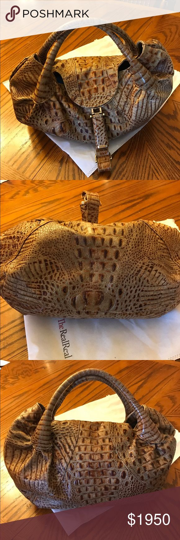 Crocodile Fendi spy bag Nice spy bag of crocodile very big and roomy 17x12 few scuffs on piping not noticeable ❤️ love this bag Fendi Bags Satchels