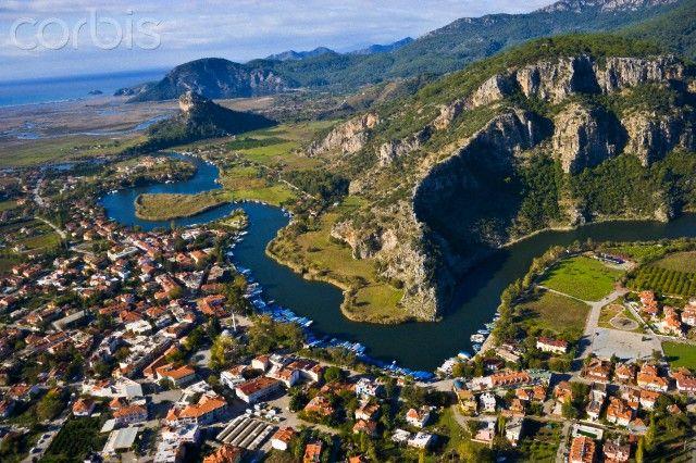 Aerial view of Dalyan, Koycegiz, Mugla, Turkey