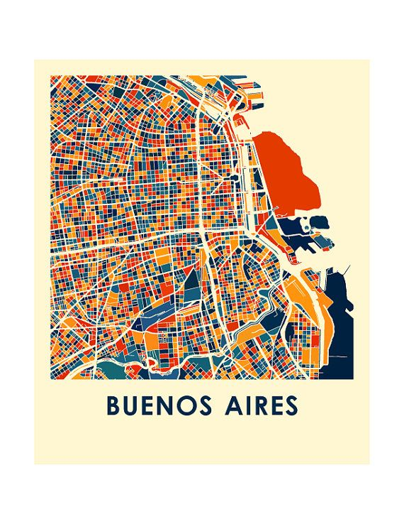 Buenos Aires Map Print Full Color Map Poster by iLikeMaps on Etsy