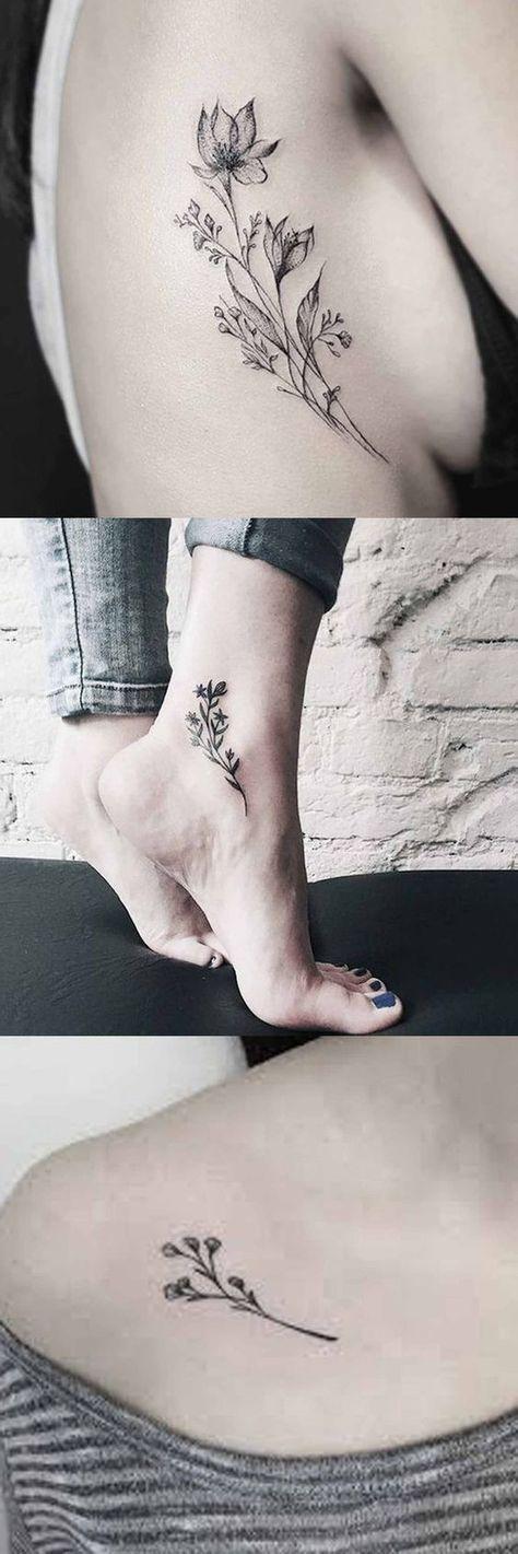 Vintage Wild Rose Tattoo Ideas for Women - Flower Ankle Foot Tatt - Traditional Black and White Floral Shoulder Tat at MyBodiArt.com #FlowerTattooDesigns