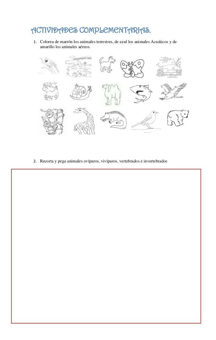 ACTIVIDADES COMPLEMENTARIAS.1. Colorea de marrón los animales terrestres, de azul los animales Acuáticos y de   amarillo l...