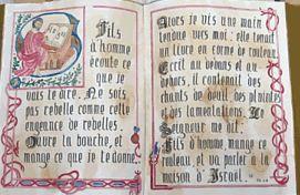 Pages de la Bible peintes par Nicolas Caltagirone, diacre à Marseille