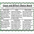TPT for a small fee---This packet includes two posters, a choice board, and one needed resource for the choice board. The posters define cause and effect and the other p...