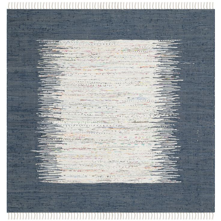 Safavieh Montauk Collection Handmade Ivory And Navy Cotton Square Area Rug,  4 Feet Square Square)