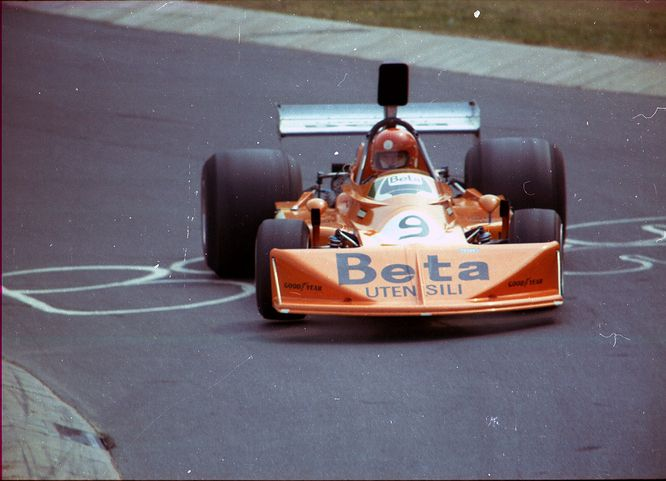 1975 – Italian Vittorio Brambilla in a March 751 - how different the proportions of the 70s cars were from today's Formula 1, especially the rear tires…