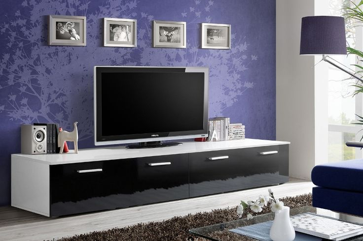 Modern High Gloss White TV Stand With LED Lighting Buy online At - led für wohnzimmer