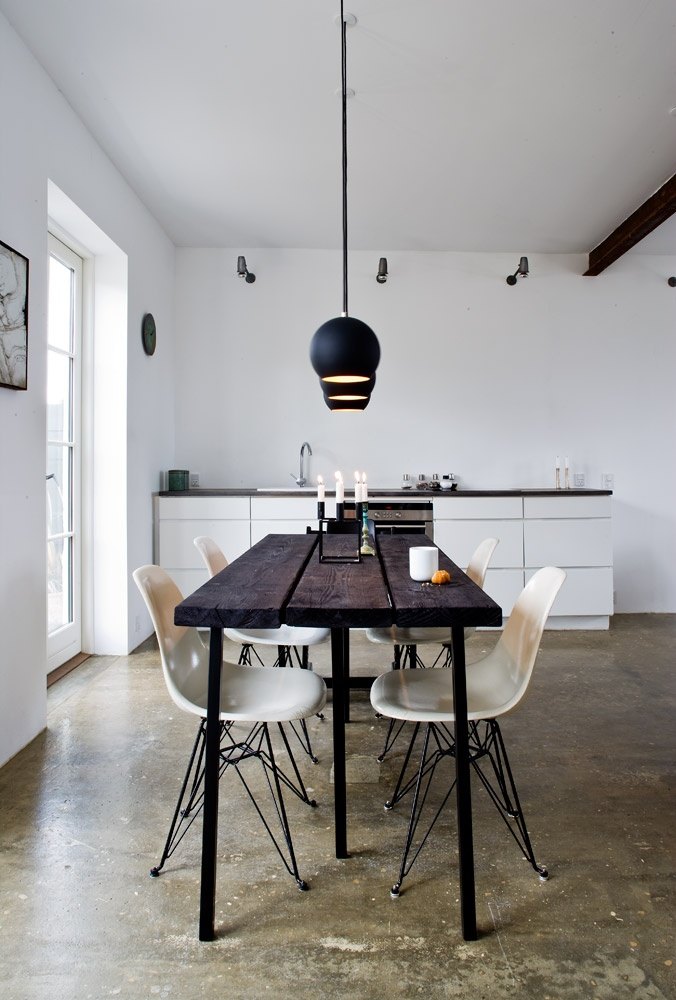 Topan lamps... Eames chairs. HAY Loop Stand.