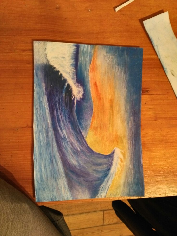 Perfect waves in sunset (oil pastel)