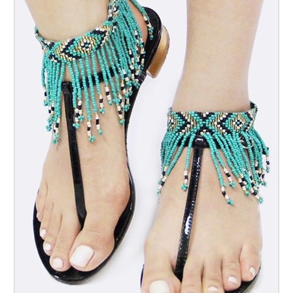 Boho fringe anklet. Pair Bohemian seed bead fringe anklet. Use it with sandals or barefoot! Accessories