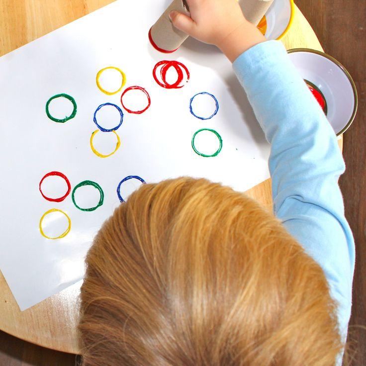 Olympic Art   anelles de colors amb tubs de cartró
