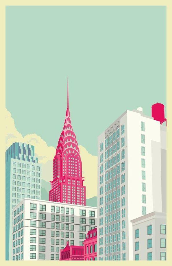 ニューヨークの町並みのイラスト。フラットな感じが好き。(via New York illustrations)