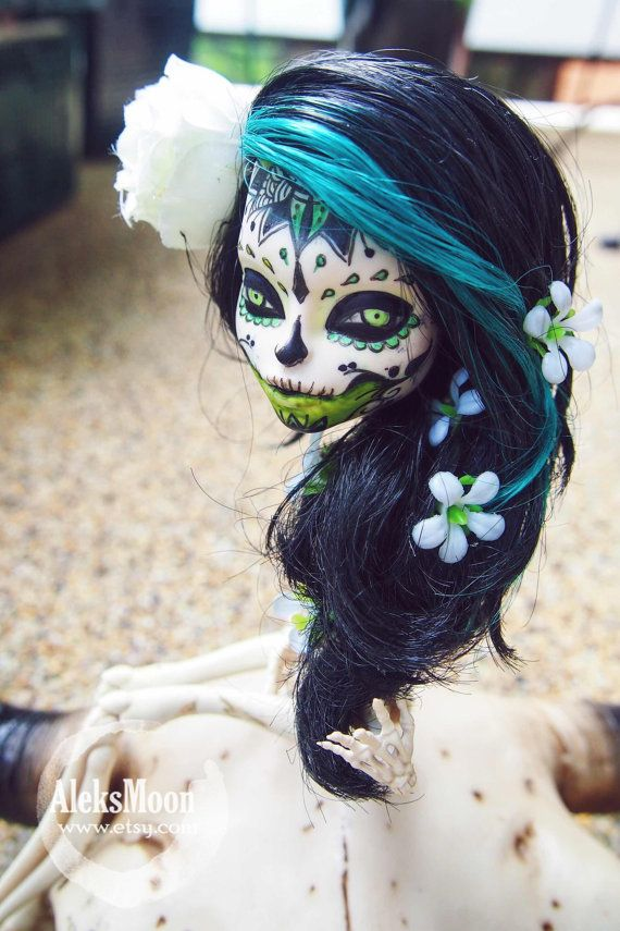 SOLD Disply Only OOAK MH repaint Sugar Skull by AleksMoon on Etsy