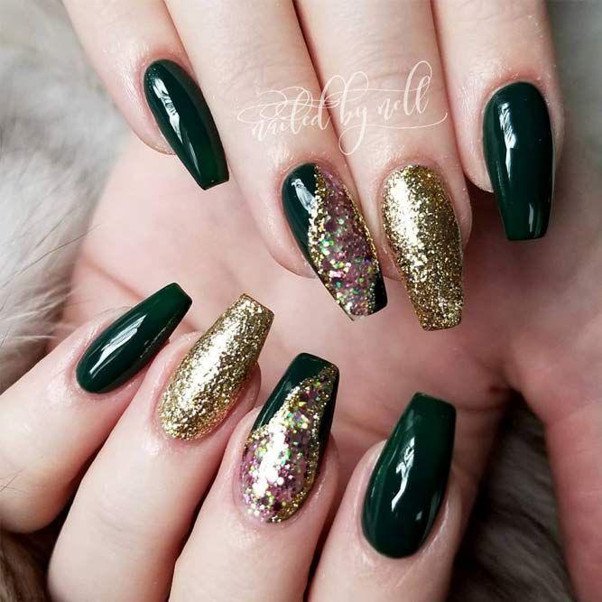 Joyous Emerald Green Nails To Intrigue Naildesignsjournal Com Green Nail Designs Emerald Nails Gold Acrylic Nails