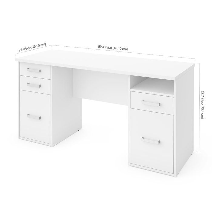 Conrad Computer Desk Office Furniture Modern White Desks Desk