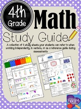 Math Study Guide: 4th GradeThis is a collection of 4 study sheets your students can use to refer to when working independently, in centers, or as a reference guide during assessments. You can even send a copy home as a homework reference tool! Use 2 file folders taped together to assemble a long lasting math tool for your students.*Aligned to 4th grade math standards (TEKS).*If interested, please visit my store for Science Study Guides.