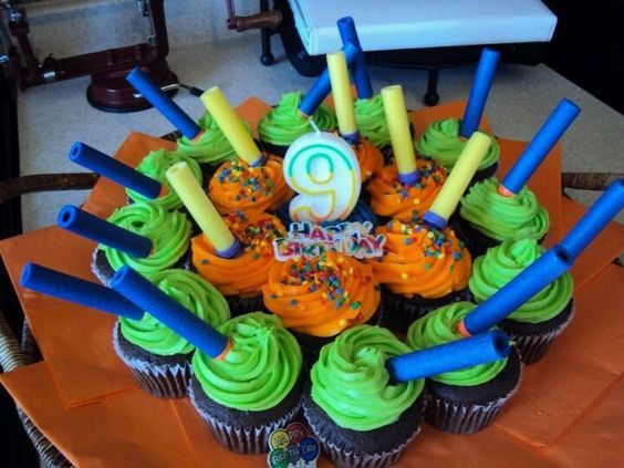 1 Nerf Birthday Cupcakes that look easy to decorate! vcmblog Boys Nerf Birthday Party Cake, Cupcake and Cookie Ideas