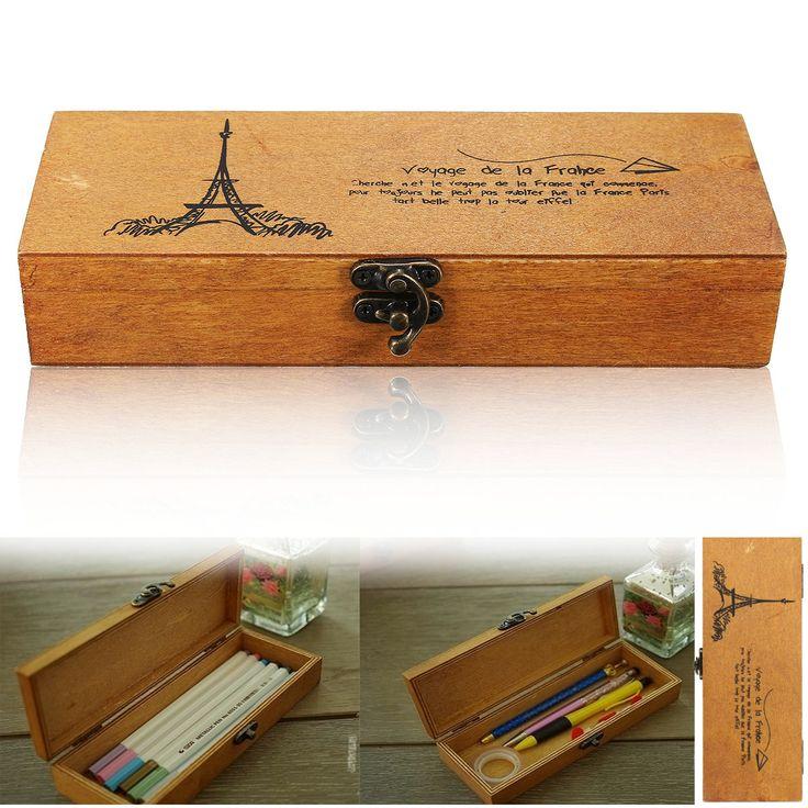 Retro- Eiffelturm-hölzerner Bleistift-Feder-Kasten-Halter-Briefpapier-Aufbewahrungsbehälter Verkauf - Banggood.com