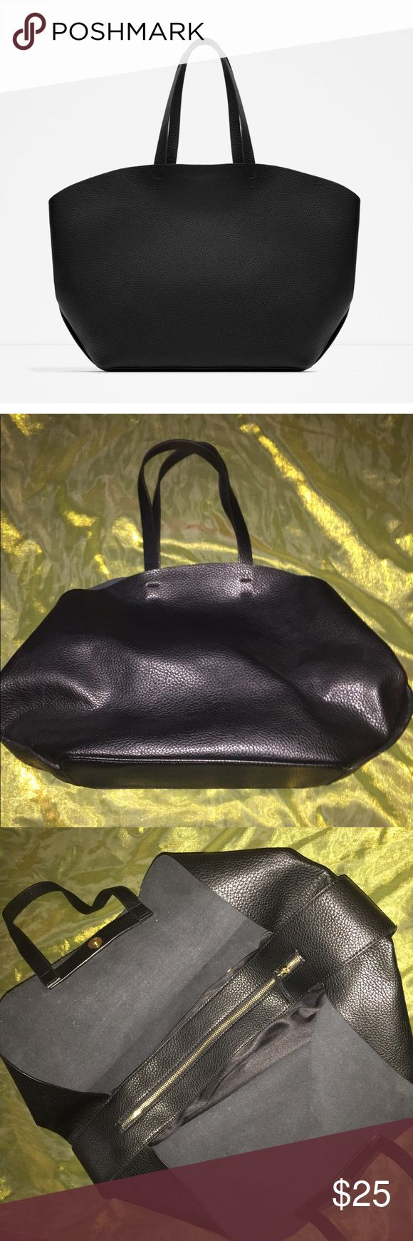 Zara Contrasting Tote Bag Black Zara Tote bag. Used a couple times but in great condition Zara Bags Totes
