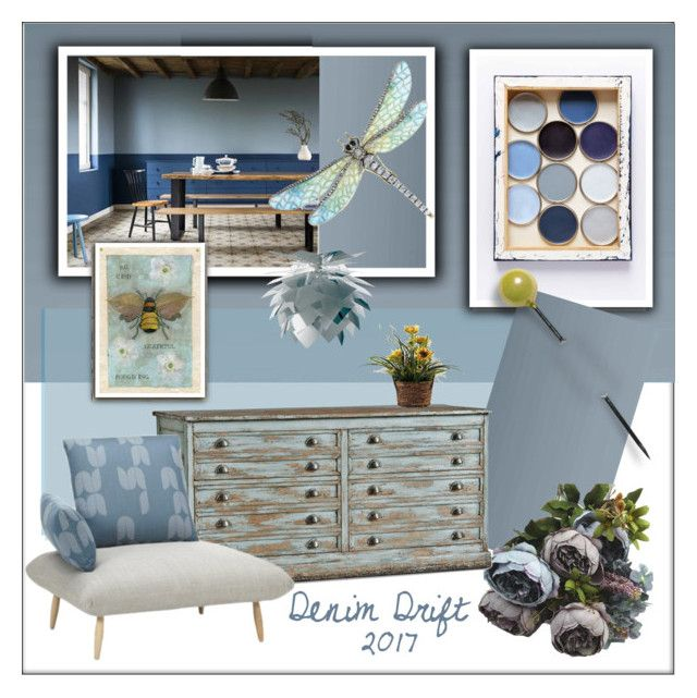 """""""Denim Drift 2017"""" by frenchfriesblackmg ❤ liked on Polyvore featuring interior, interiors, interior design, home, home decor, interior decorating, Home Decorators Collection and Dyberg Larsen"""