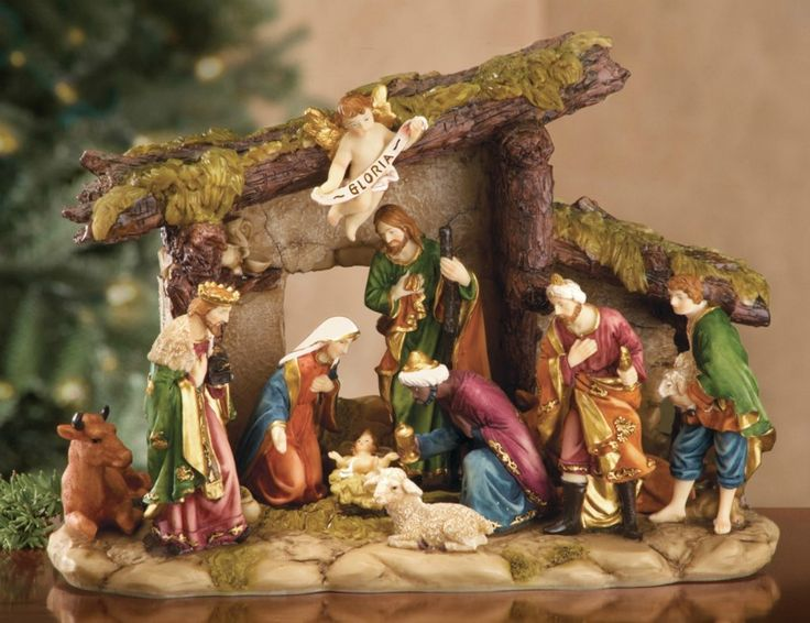 - - - NATIVITY WITH MANGER TABLETOP DECORATION!!! ]]]