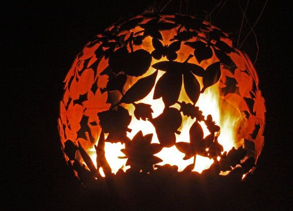 700mm LEAF SPHERE..  Fire Spheres by J.W & A.J Barrett Ltd. Craftsmen in Metal  Premium Bespoke Fire Spheres & BBQs Crafted in Worcestershire UK 5mm Mild Steel Sphere Spun in the UK  You are welcome to view the item please contact us to make an appointment. We have various pieces in stock. Please look around our etsy shop. if you have your own designs please do contact us. We are happy to work with you on design. This Particular Leaf Sphere is 700mm Diameter Comes Complete with a tubular…