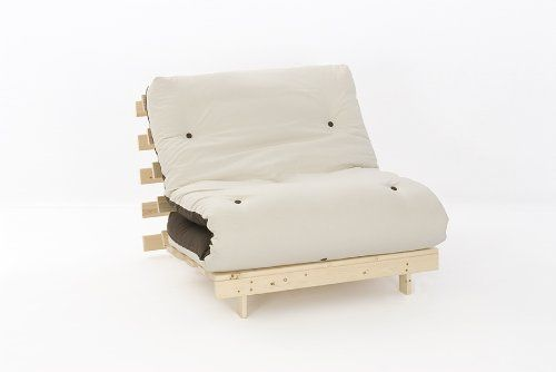2ft6 LUXURY Small Single Wooden Futon Set with PREMIUM LUXURY Chocolate & Cream Reversible Mattress---94.99---
