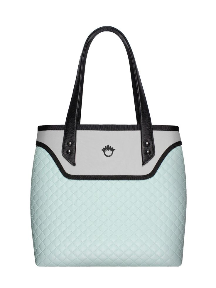 GOSHICO, ss2015, Flowerbag (shoulder bag), pastel mint + light grey. To download high or low resolution photos view Mondrianista.com (editorial use only).