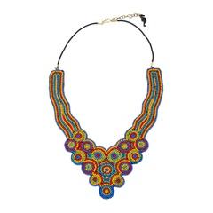 Красивое колье-ожерелье из бисера «Королева Ацтеков»