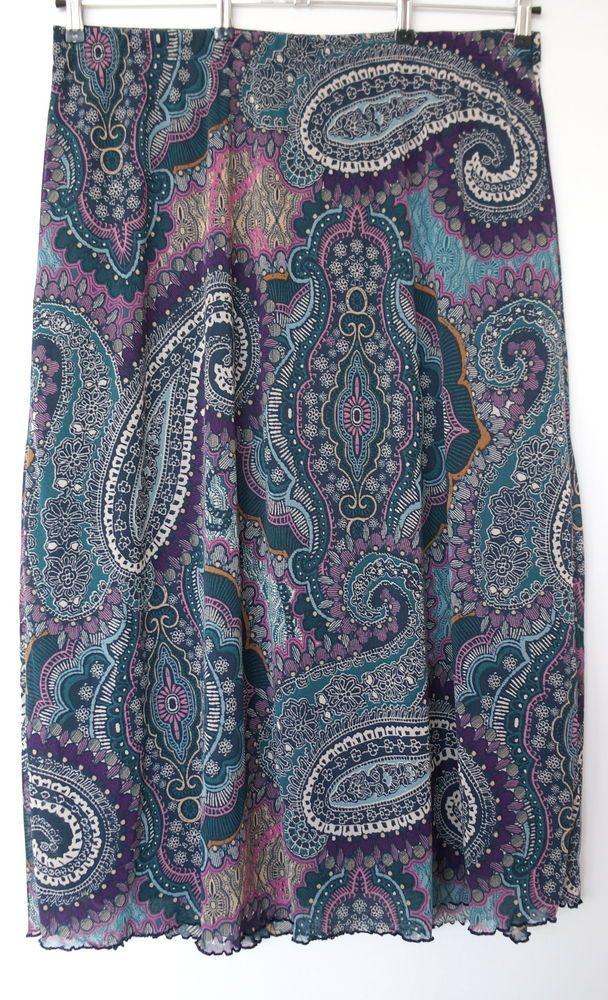 NEU Übergröße Damen Maxi Mesh Rock mit Paisleyprint tolle Farbkombi Gr.52,54