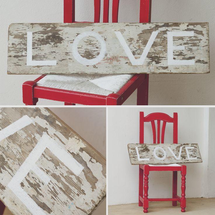 Cartel letrero de madera reciclada de obra love cartel - Letreros en madera ...