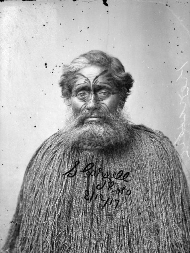Portrait of Kereopa Te Rau taken on 8 December 1871, a few weeks before he was hanged on 5 January 1872. A piupiu is around his shoulders. Taken by Samuel Carnell.