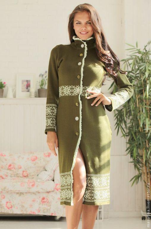 """Купить Пальто """"Luxury green"""" - зеленый, орнамент, зеленое пальто, вязаное пальто, Жаккардовый узор"""