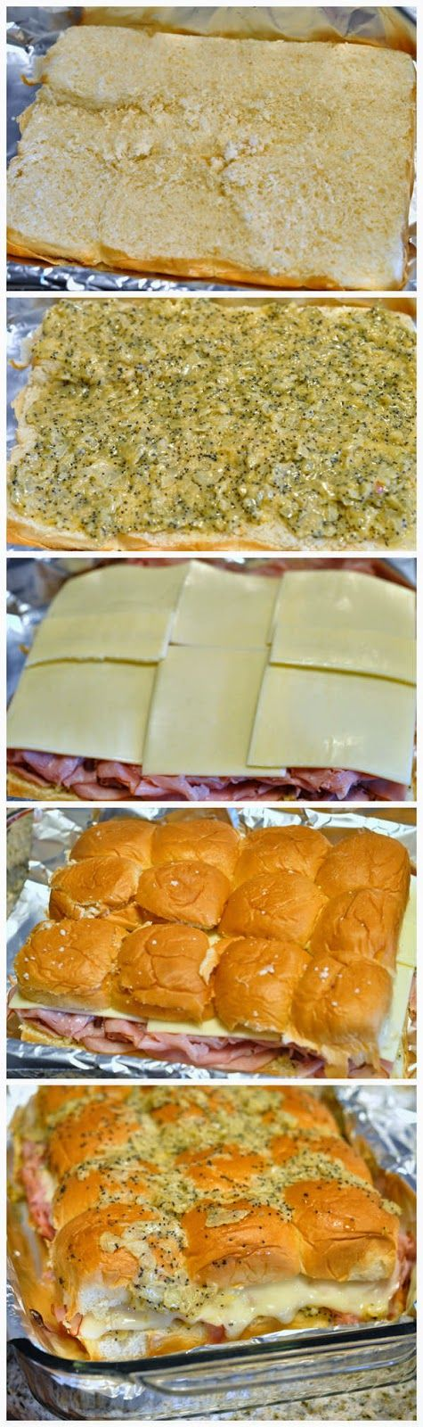 Ham & Cheese Poppyseed Sliders- These couldn't be any easier to make and are great for gameday or parties or even for lunch paired with a cu...