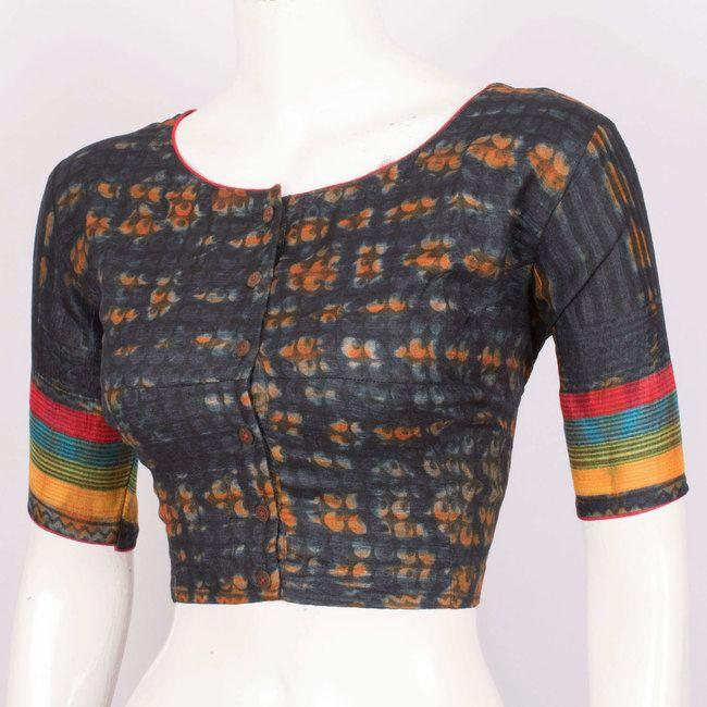 Hand Block Printed Tie & Dye Tussar Silk Blouse With Regular Sleeve 10018846 Size - 40 - AVISHYA.COM
