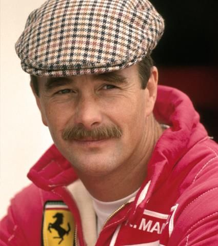 Nigel Mansell. Ferrari's, flat caps and moustaches. Hero.