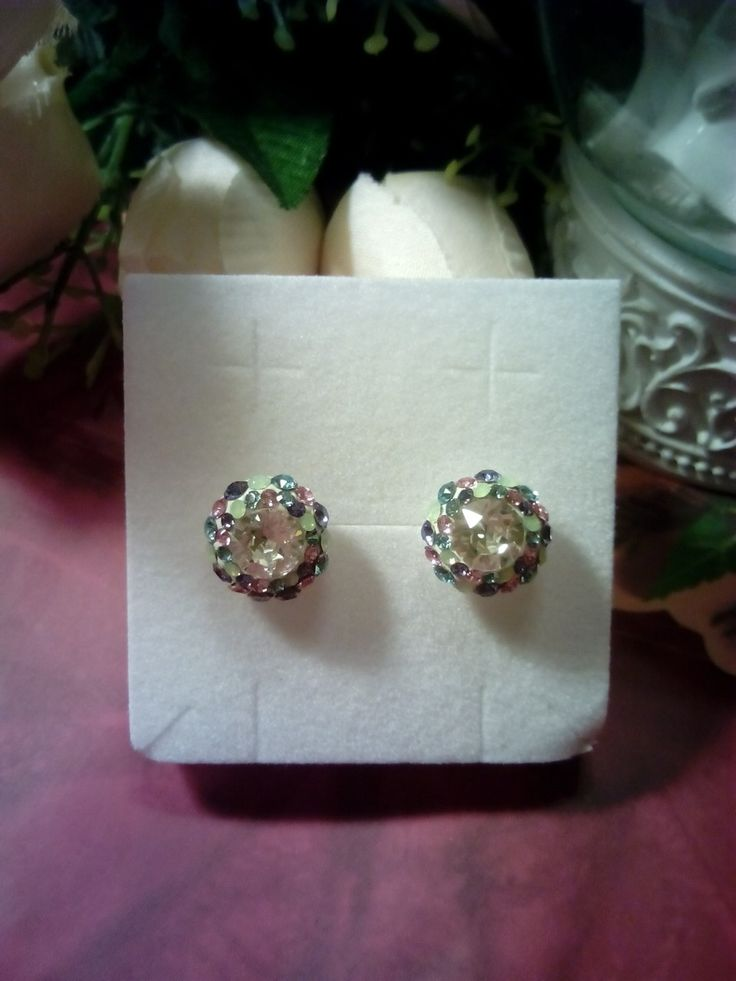 Multicolor Swarovski crystals silver stud earrings.