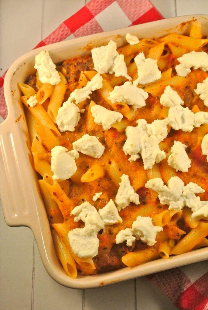 pasta ovenschotel met groenten en ricotta