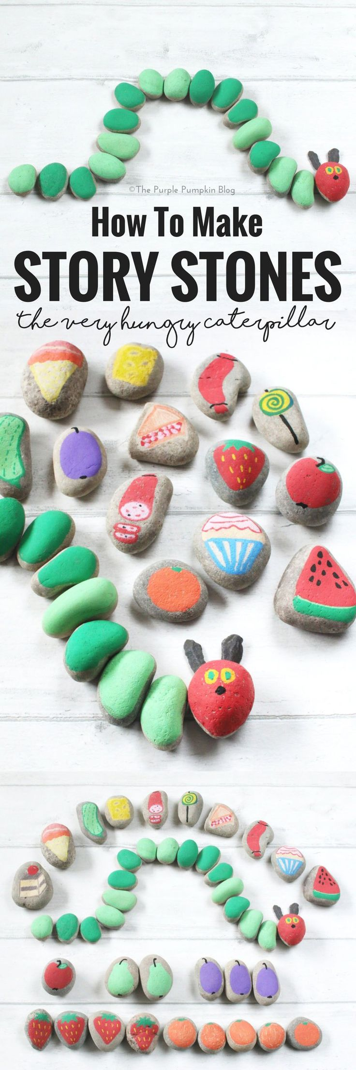 How To Make Story Stones! This is a fun way to tell and make up stories with children. Paint objects and characters onto stones and use them to tell a favourite story - like the beloved Very Hungry Caterpillar! Or a classic fairy tale like The Three Littl