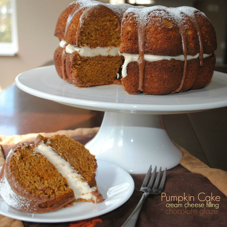 Delicious Pumpkin Bundt Cake with cream cheese filling and Chocolate ganache! Perfect recipe for a large dinner party.