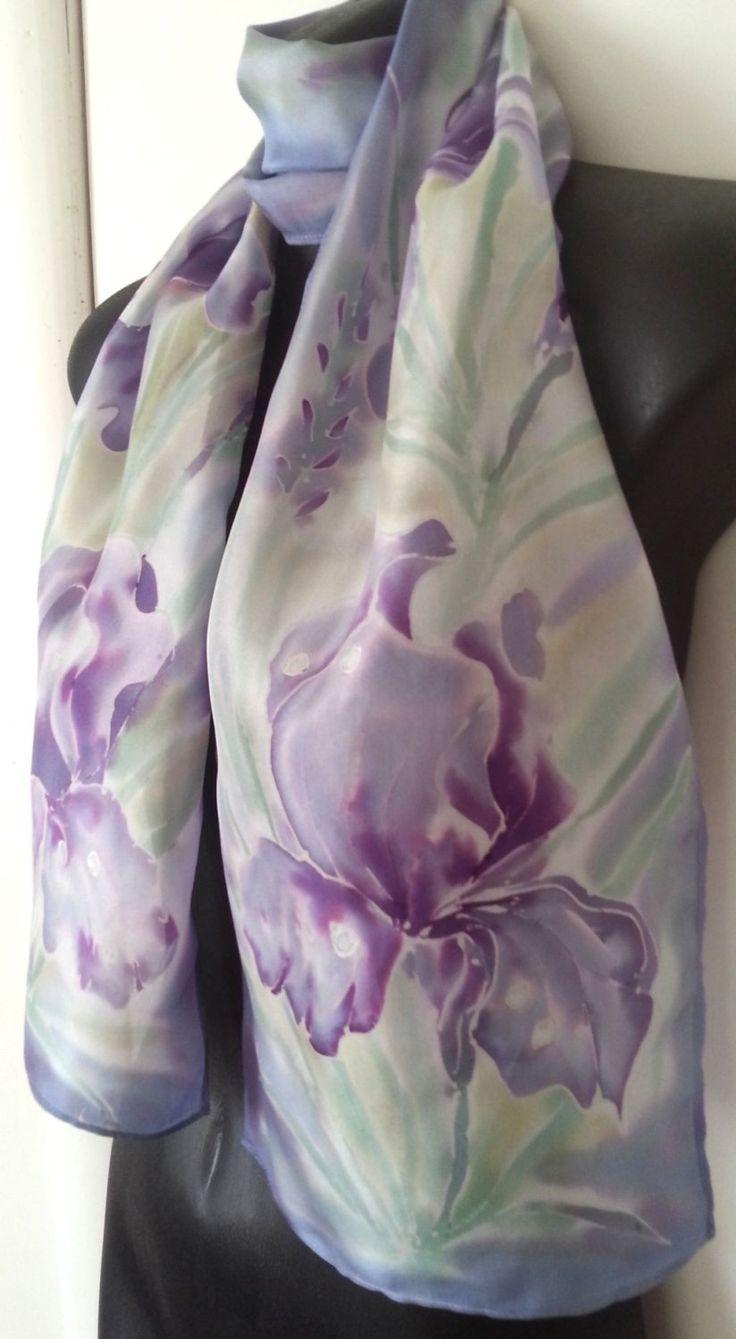 IRIS Flower Silk Scarf, New Zealand, Monet Pastels, Iris SILK SCARF, Handpainted, mauve, purple, blue, Gift Card included, 28cm x 150cm Long by KiwiSilks on Etsy