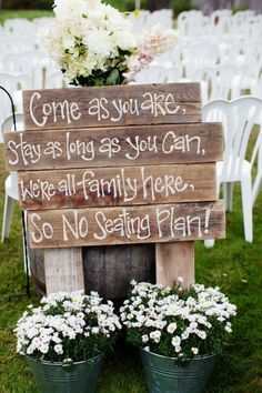 Rustic wedding ceremony sign / http://www.deerpearlflowers.com/rustic-buckets-tubs-wedding-ideas/