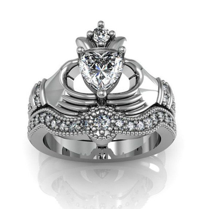 18K Platinum Plated 925 Sterling Silver Claddagh Ring / Engagement Ring Set (Free Shipping)